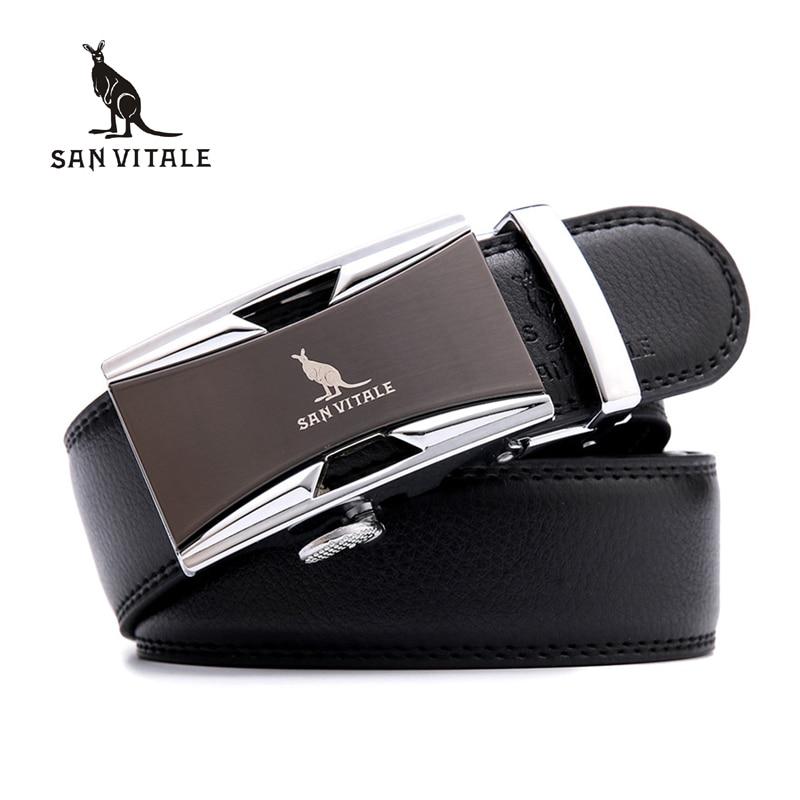 SAN VITALE Männer Gürtel Echtes Leder Luxus Strap Männlichen Gürtel für Mann Homme Schnalle Fancy Vintage Jeans Cintos Masculinos Ceinture