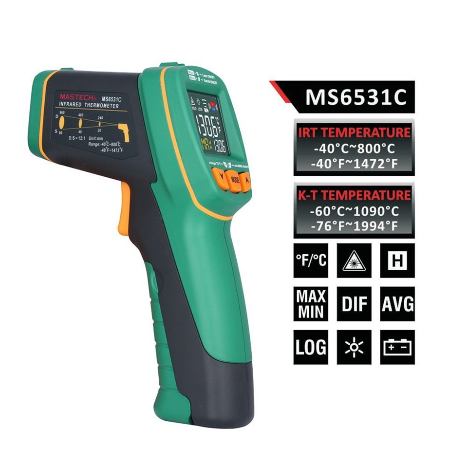 2017 Original Mastech MS6531C color display infrared Thermometer -40~800 degrees With K type thermometer Free Shipping infrared thermometer center 358 18 315c with free shipping