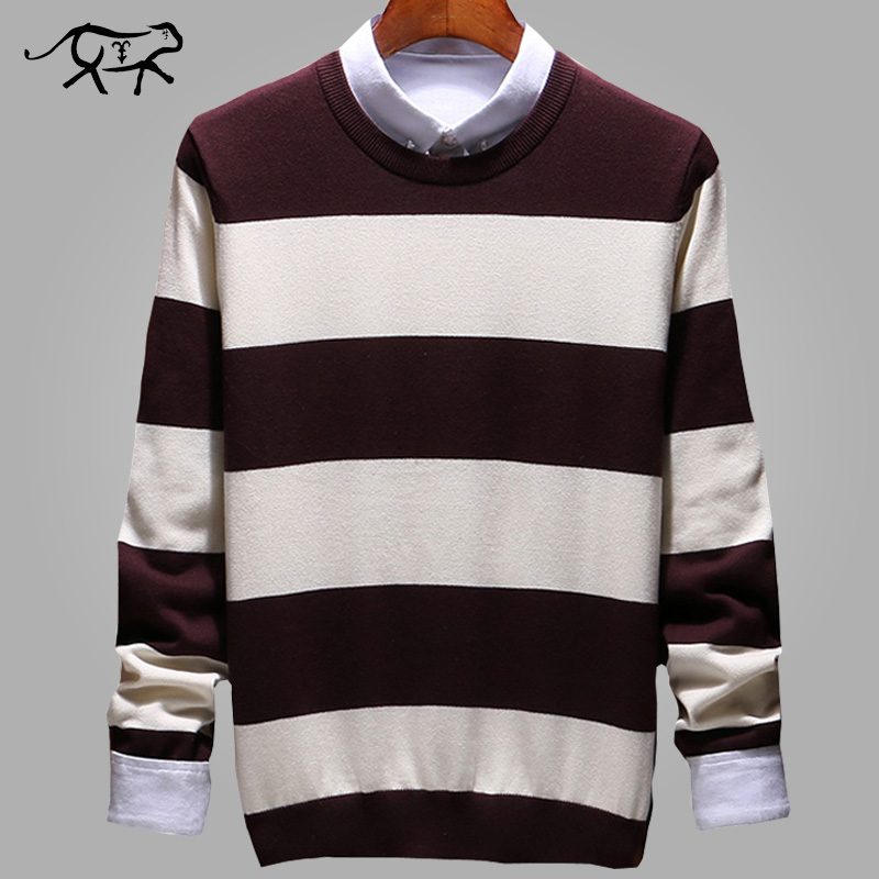 Sweater Male Pullover Men Brand Casual Sweaters Striped Mens Cashmere Sweater