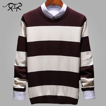 Fashion Stripe Sweaters Men O Neck Pullover Men Long Sleeve Men's Sweater Casual Male 2018 New Brand Cashmere Knitwear Pull 3XL