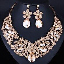 FARLENA Joyería de Alta Calidad de Color de Cristal Rhinestone aretes Collar de la Flor para Las Mujeres de La Boda de la joyería India