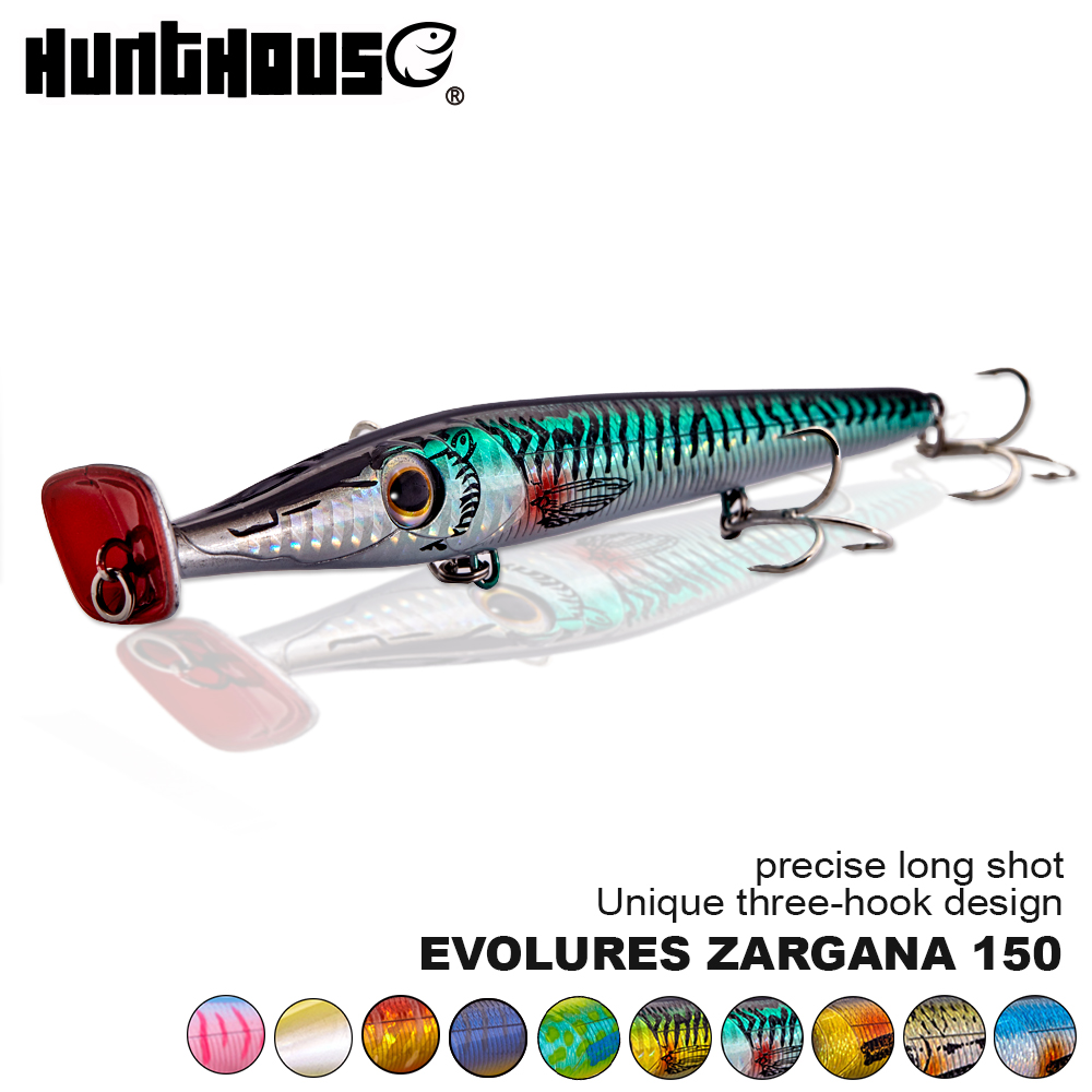 Hunthouse new popper 150mm long cast pencil topwater floating bait for bass pike bluefish handsome wobblers needle lure zargana