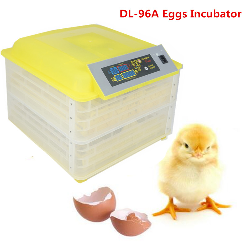96 Eggs Incubator Full-automatic Chicken Egg Brooder Hatching with Digital Clear Pigeons Quail Parrot Turtle Bird Incubation