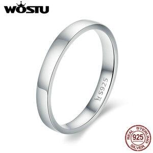 Image 2 - WOSTU Твердые чистое серебро 925 пробы простой перстень для женщин высокие полированные классические ретро часы кольца обручальные ювелирные изделия подарок FIR343