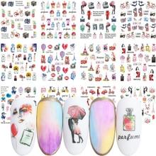 12 sztuk romantyczny paryż naklejka do paznokci kwiaty perfum transferu wody naklejka naklejka na słodka para na ozdoby do paznokci JIBN1141 1152