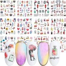 12 шт. романтическая наклейка для ногтей в Парижском Стиле, цветы, парфюм, переводная наклейка, слайдер, милая пара, украшения для ногтей, JIBN1141 1152