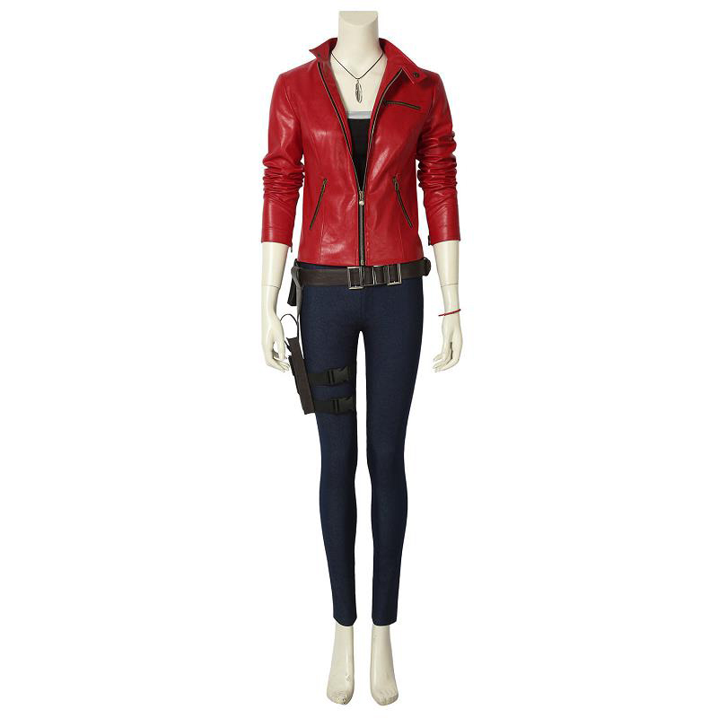 Game RE2 Resident Remake Biohazard Claire Redfield Costume Cosplay Leather Jacket Props Halloween Adult Women Outfit Custom Made