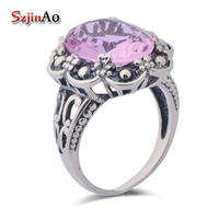 Szjinao Love Vintage Pink Female Ring Sailor Moon Flower Style Punk New Year Engagement Rings for Women sterling-silver-jewelry