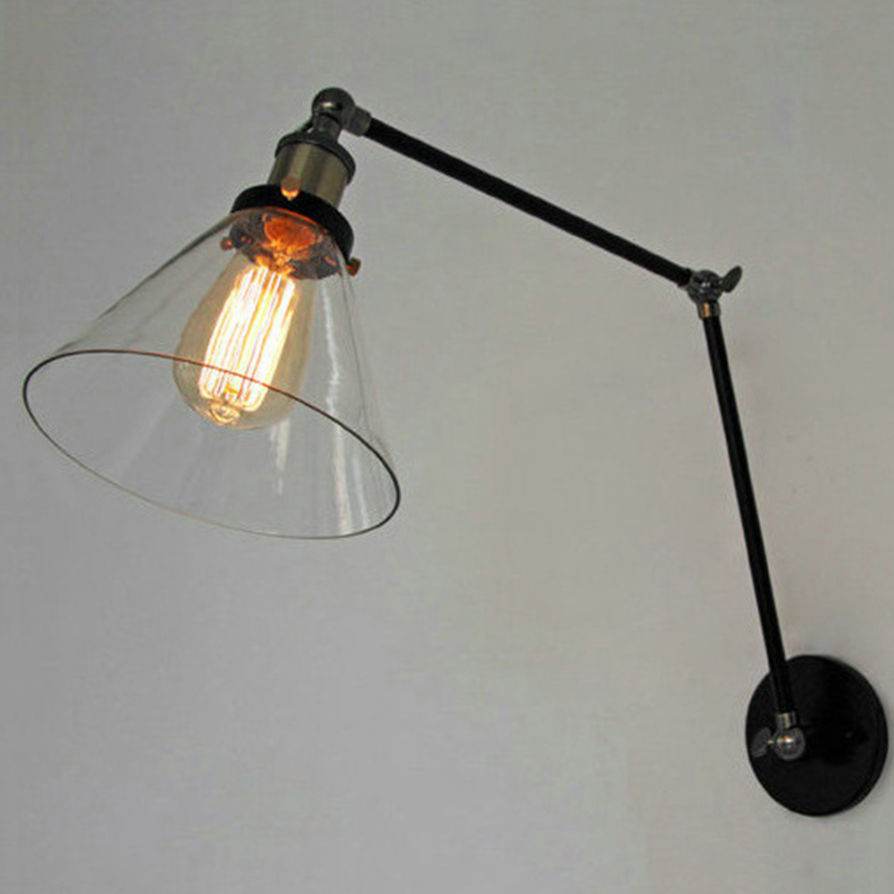 buy vintage industrial loft swing arm wall sconce adjustable warehouse ambient lighting glass lampshade wall lamp e27 edison lights from