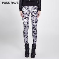 PUNK RAVE Skull Floral Print Gothic Punk Women Leggings 3d Printed Camouflage Classic High Elastic Knitted Breathable Pants