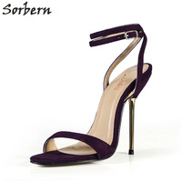 Sorbern Dark Purple Stilleto Sandals Gold Heels Evening Party Shoes Summer Style Shoes Woman Sandalie 2018 New Slingback Sandals