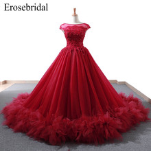Elegant Red Ball Gown Evening Dress 2019 New Lace Bodice with Beaded Up Back or Zipper robe de soiree Formal Women