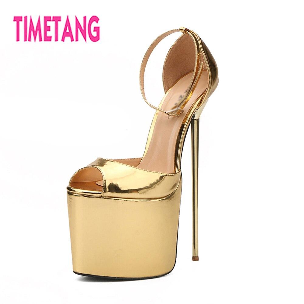 0ac84bec4f3 TIMETANG 2018 New Super High 22cm Thin Heel Big Size 40-50 Woman Sandals 9.5