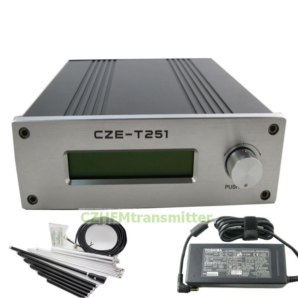 CZH CZE-T251 0-25W power adjustable Professional FM stereo broadcast transmitter +1/4 GP antenna kit cze 7c 7watt stereo lcd broadcast radio station fm transmitter 12v adapter antenna cable