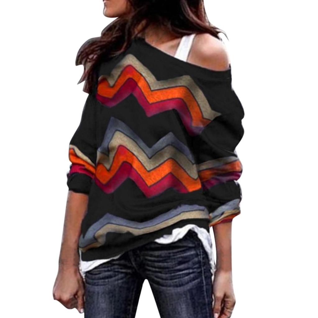 Womail 2018  Hoodie  Fashion Women Long Sleeve Geometric Print Sweatshirt Pullover Casual Tops Tops  Autumn 18NOV30