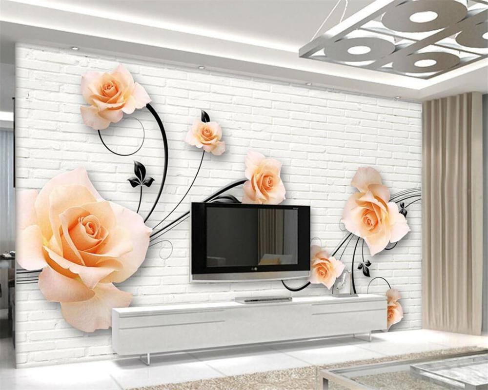 Beibehang White brick wall rose flower vine 3d living room room TV ...