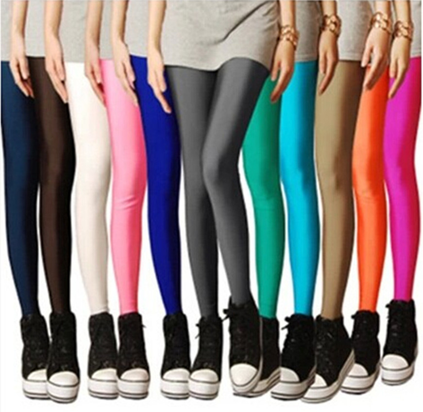2019 Women Solid Color Fluorescent Shiny Pant Leggings Spandex
