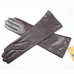 Image 5 - Eldiven Guantes 2019 nowy 38cm długo pani skórzane rękawiczki przycisk styl prosto z owczej skóry aksamitna wyściółka ciepłe jesienne i zimowe