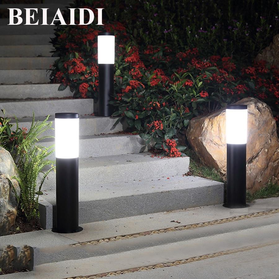 BEIAIDI 45/60CM Waterproof LED Pillar Lawn Lamp Outdoor Front Courtyard Villa Landscape Park Light E27 Post Garden Lawn Lighting