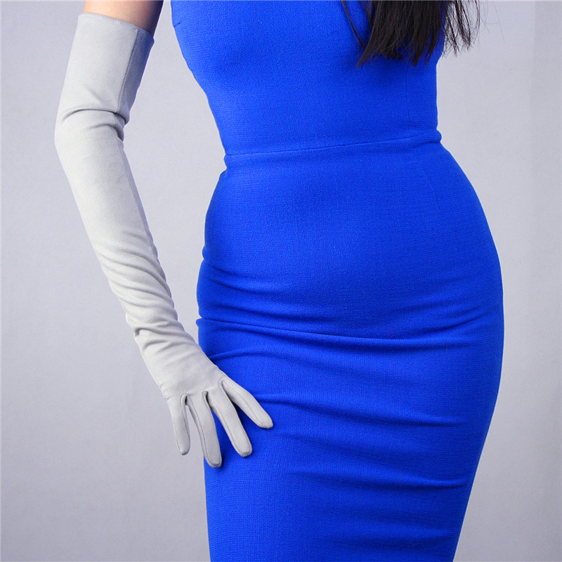 Woman Suede Gloves Imitation Genuine Leather PU Female Unlined Keep Warm 60cm Long Mittens TB22-2