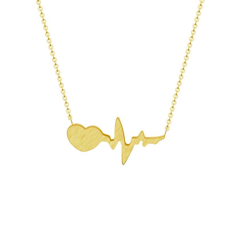 GORGEOUS TALE New Heatbeat Wave Simple Ecg Heart Organ Beat Chic Necklace Pendant Necklaces Lightning Charm Women Retro Jewelry