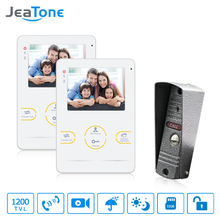 "JeaTone  4"" TFT 1200TVL Door Monitor Video Intercom Home Door Phone Recorder System SD/TF Card Supported Waterproof Rain Cover"