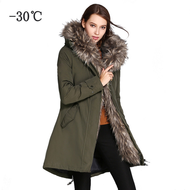 8060a8fc15a0b COUTUDI Winter Jacket Women 2018 Parkas Plus Size Outwear Coats Woman Army  Green Big Fur Hood Coat Cotton Padded Quality Jackets