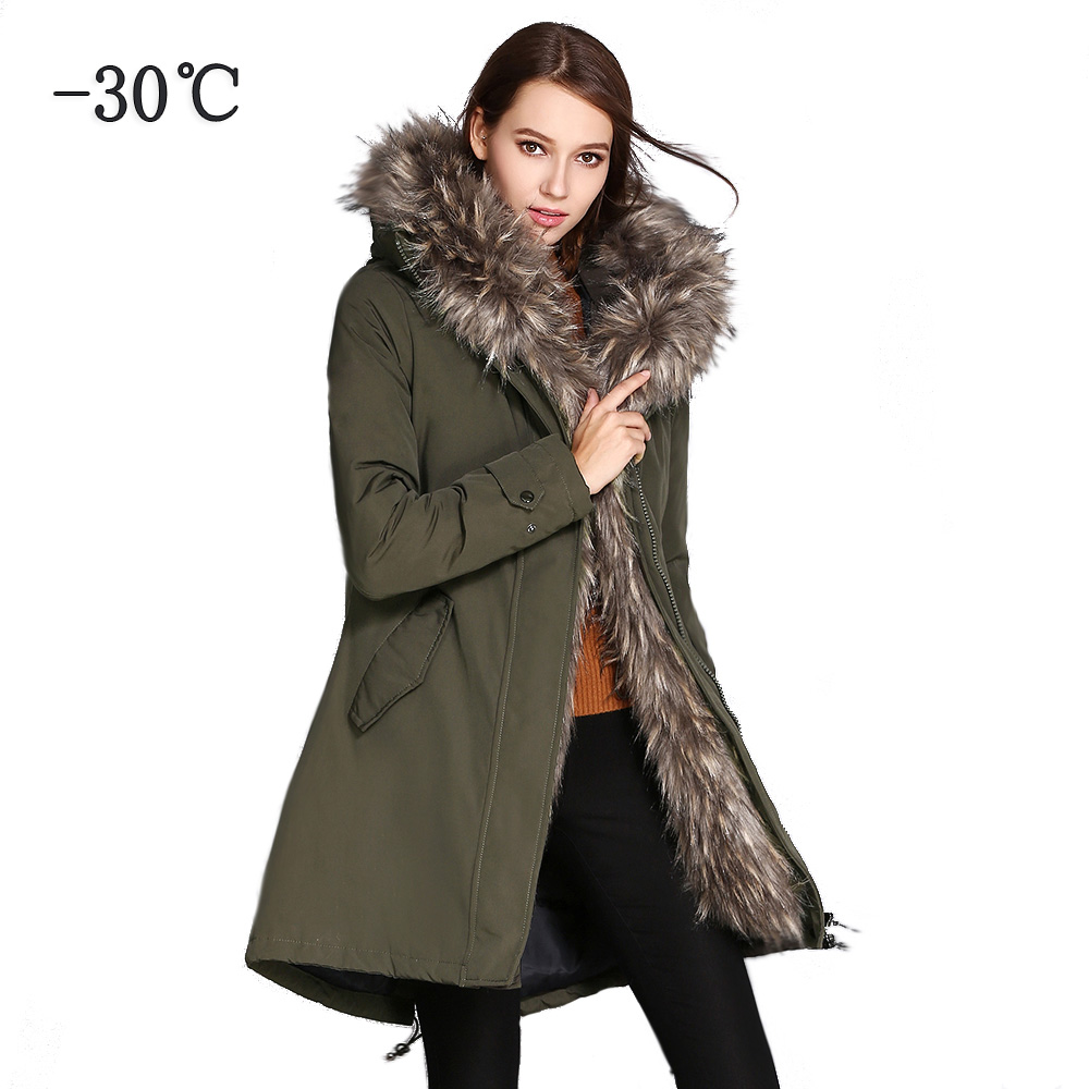 COUTUDI Winter Jacket Women 2018   Parkas   Plus Size Outwear Coats Woman Army Green Big Fur Hood Coat Cotton Padded Quality Jackets