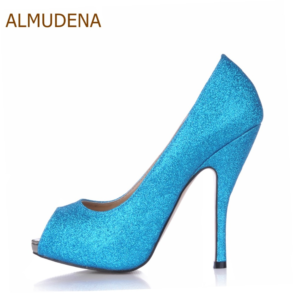 ALMUDENA Nice Sky Blue Bling Bling Sequined Open Toe Pumps Free Shipping Thin High Heel Dress Shoes Nightclub Girls Party Pums ...
