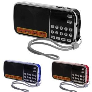 Image 5 - נטענת נייד מיני דיגיטלי סטריאו FM רדיו רמקול מוסיקה נגן עם TF כרטיס USB AUX קלט עם תצוגה ופנס