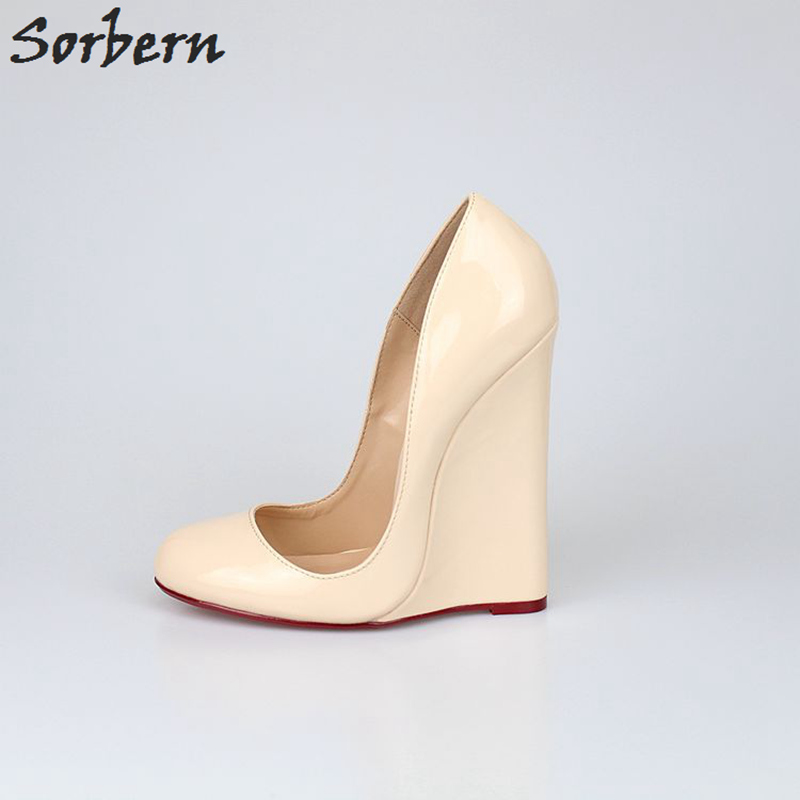 Sorbern Big Size Eu40-46 Wedge High Heel Pumps Women Slip-On Shiny Pu 14Cm Womens Elegant Shoes Patent Leather Shoes For WomenSorbern Big Size Eu40-46 Wedge High Heel Pumps Women Slip-On Shiny Pu 14Cm Womens Elegant Shoes Patent Leather Shoes For Women