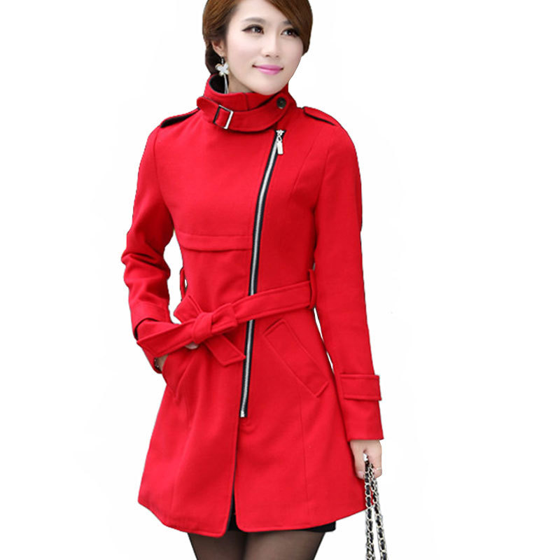 Nuevo 2015 mujer capa de lana de abrigo largo de lana