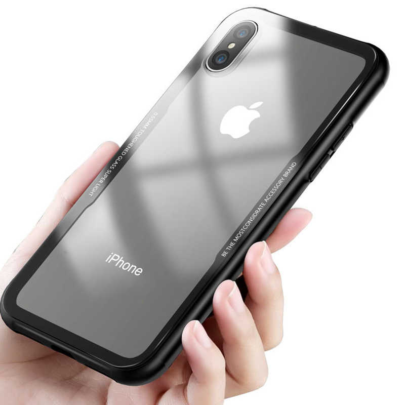 ef4fe0e087 Soft TPU Bumper Clear Back Tempered Glass Protective Phone Cases For iPhone  X 8 7 6s