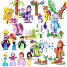 Mailackers Legoing Friends For Girls figuras de princesas unicornio reina de la nieve Hua Mulan elfos animales juguete bloques de construcción Legoings Kit(China)