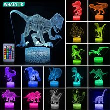 3D Dinosaur Night Light LED Illusion Table Lamp Touch Remote Decor 16 Colors Kids Child Holiday Christmas Party Raptor Gifts Toy