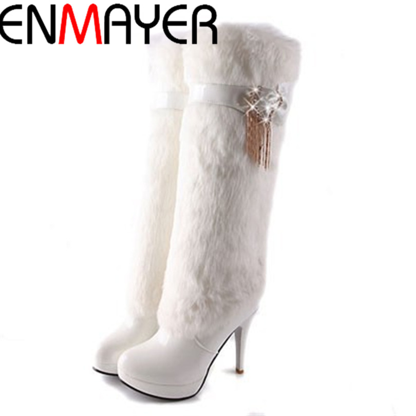 ФОТО ENMAYER Big Size 34-42 New Women Winter Boots Platform Warm Knee High Boots Fashion Patent Leather Bow Snow Boots Woman Shoes
