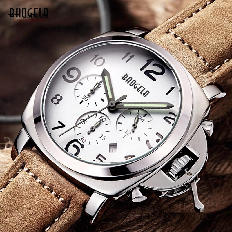 Baogela Heren Chronograaf Luminuos Handen Lederen Band Quartz - Herenhorloges