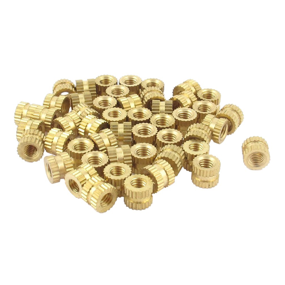 500pcs M3 4mm Brass Injection Molding Copper Inserts Brass Double Pass Knurl Nut Embedded Fastener Knurled Threaded Insert Screw