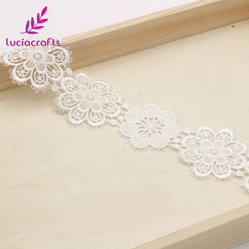 Image 2 - Lucia crafts 1yard/lot 5cm White Flower lace Embroidery Trim Ribbon DIY Wedding Sewing Garment Handmade Accessories N0506-in Lace from Home & Garden
