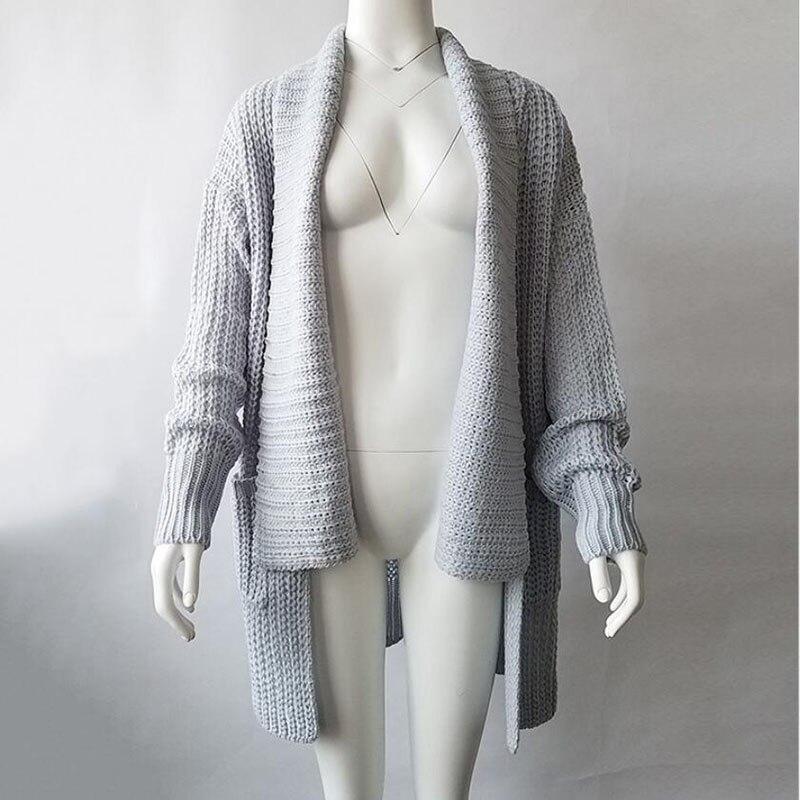 Chandail décontracté à tricoter Long Cardigan femme lâche Cardigan tricoté pull 2018 chaud hiver chandail femmes Cardigan