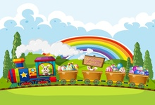 Laeacco Cartoon Train Rabbit Eggs Easter Rainbow Baby Photography Background Customized Photographic Backdrops For Photo Studio s 3227 easter eggs easter basket wood floor baby newborn child photo background photography backdrops