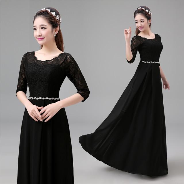 ebc406d83e09d s 2016 new arrival stock maternity plus size bridal gown evening dress  black long graduation graduated lace LD2530