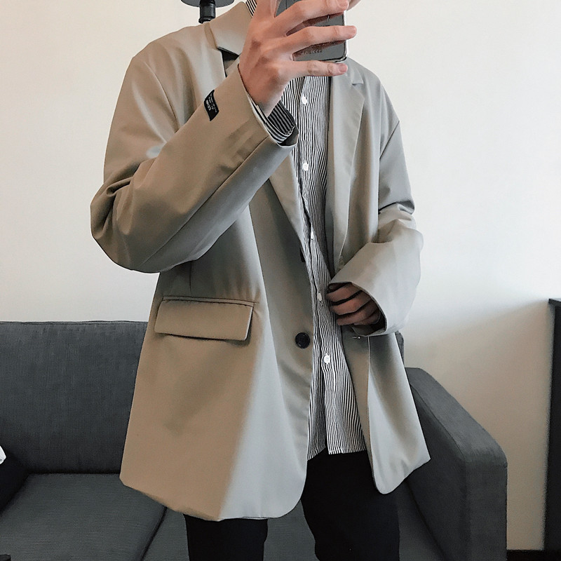 Men's Suit 2019 Spring New Slim Solid Color Long-sleeved Jacket Retro Loose Casual  Personality Youth Men's Wear