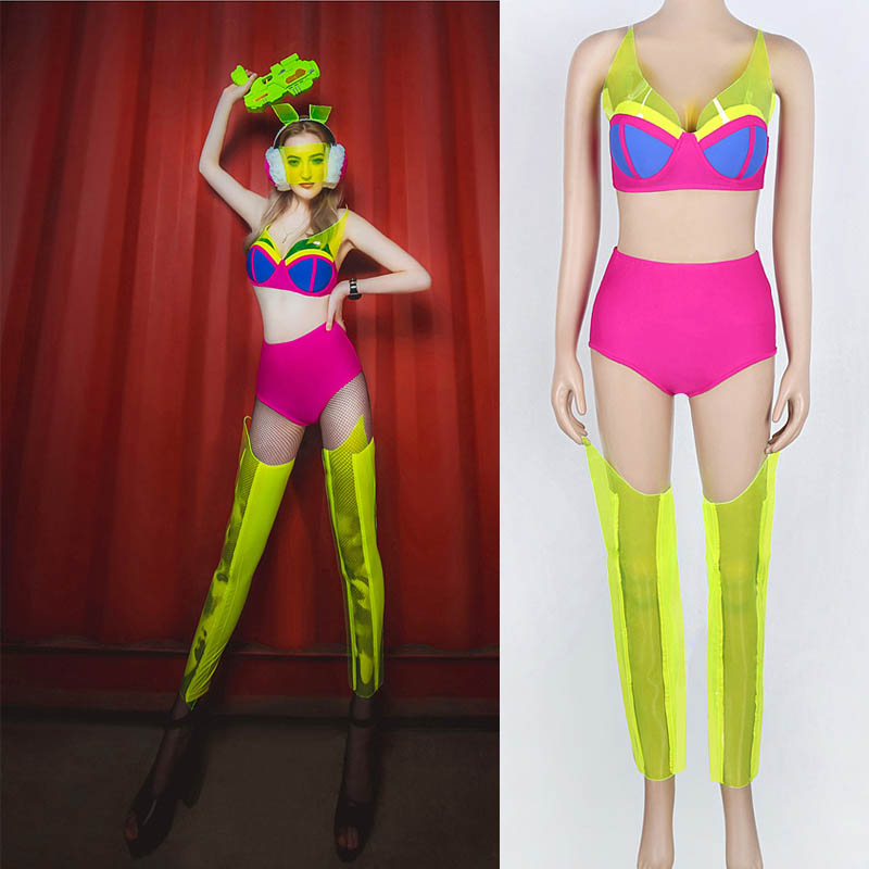 2019 Ladies DS performance fluorescent party sexy nightclub Gogo Lead Dancer Nightclub DJ Female singer Stage show Cosutme PVC