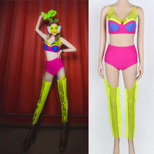 2019 Ladies DS performance fluorescent party sexy nightclub Gogo Lead Dancer Nightclub DJ Female singer Stage show Cosutme PVC yellow tiger pattern printed sexy jumpsuit skinny leggings rompers nigthclub singer dancer performance stage show nude costume