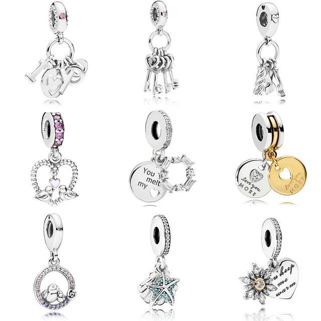 Multi Style Heart Charm CZ Beads 925 Sterling Silver Fit Original Pandora Charm Bracelets European Silver 925 Jewelry Making