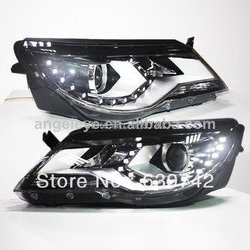 For VW 2010-2012 year Tiguan LED Head Lights with Bi Xenon Projector Lens SY