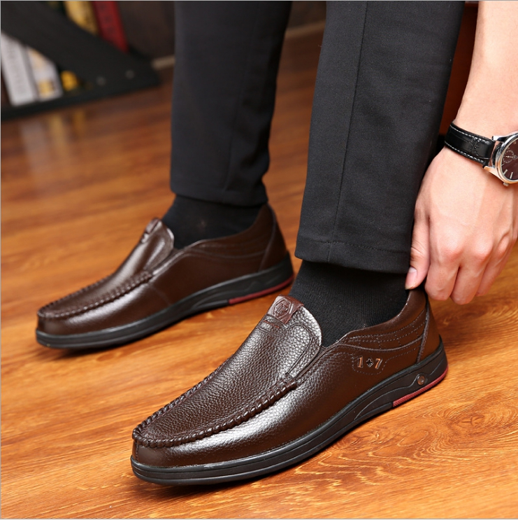 New 2019 Plus Size 48 Solid Men Casual Leather Shoes Slip On Lazy Single Shoes Man Loafers Business Office Work Shoes For Male 5