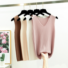 Summer Sleeveless Women Tank Top High Elasticity Knitted Ice Silk Top Fashion Ribbed Knitwear Sweater Vest Cozy Female Tee Shirt summer sleeveless women tank top high elasticity knitted ice silk top fashion ribbed knitwear sweater vest cozy female tee shirt