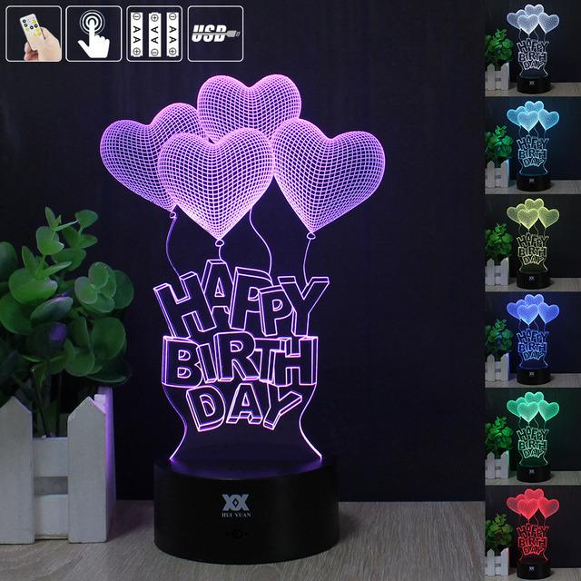 3D Happy Birthday LED Light